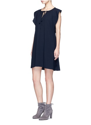 Figure View - Click To Enlarge - Chloé - Drawstring V-neck cady dress