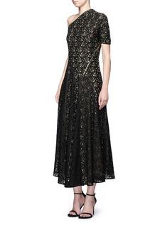 Stella McCartneyOne shoulder zip floral lace maxi dress