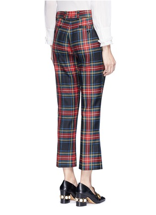 Back View - Click To Enlarge - Gucci - Washed wool tartan cropped pants