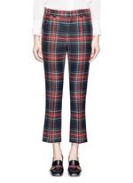 Washed wool tartan cropped pants