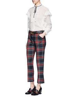 GucciWashed wool tartan cropped pants