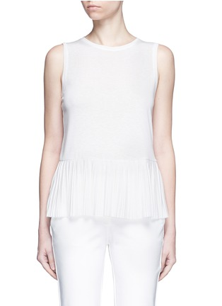 Main View - Click To Enlarge - Theory - 'Elvnee' plissé pleat slub jersey top