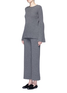The Row 'Latone' cashmere rib knit flare pants