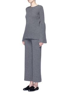 THE ROW'Latone' cashmere rib knit flare pants