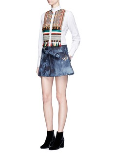 ValentinoBead embroidered bib poplin shirt
