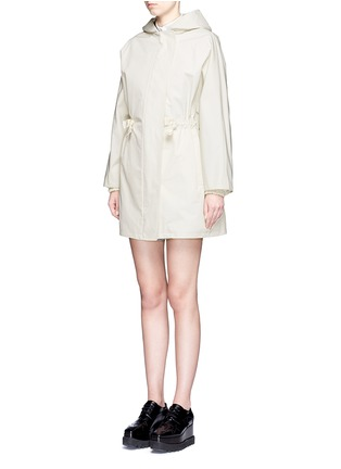Front View - Click To Enlarge - Stella McCartney - Hooded cotton blend technical caban coat