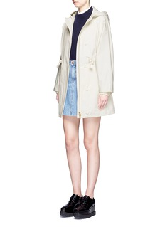 STELLA MCCARTNEY Hooded cotton blend technical caban coat