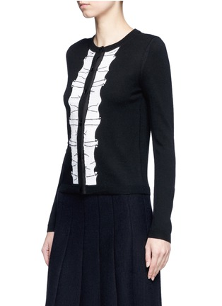 Front View - Click To Enlarge - alice + olivia - Sequin ruffle trim wool cardigan