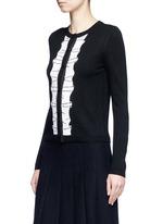 Sequin ruffle trim wool cardigan