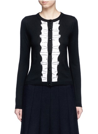 Main View - Click To Enlarge - alice + olivia - Sequin ruffle trim wool cardigan