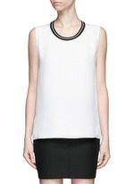 'Romy' sport stripe neck silk tank top