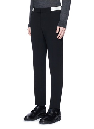 Front View - Click To Enlarge - Alexander McQueen - Metallic stripe waistband crepe pants