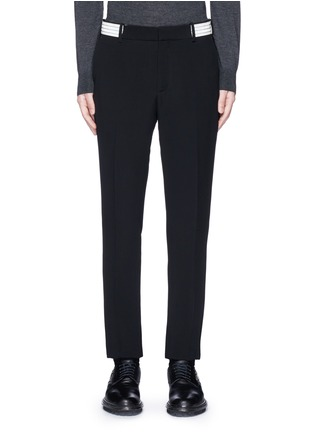 Main View - Click To Enlarge - Alexander McQueen - Metallic stripe waistband crepe pants