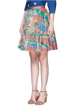alice + olivia-'Earla' Havana Town print flare skirt