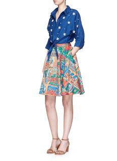 ALICE + OLIVIA'Earla' Havana Town print flare skirt