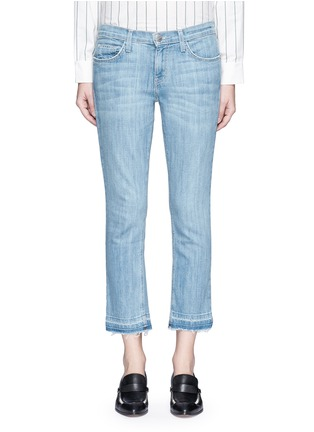 Detail View - Click To Enlarge - Current/Elliott - 'The Cropped Straight' frayed hem jeans
