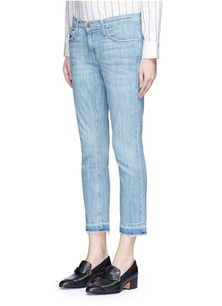 Front View - Click To Enlarge - Current/Elliott - 'The Cropped Straight' frayed hem jeans