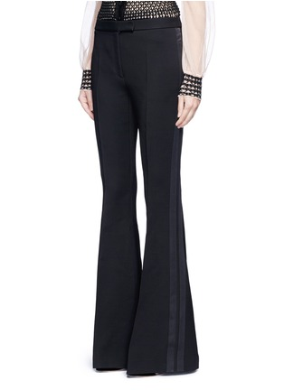 Front View - Click To Enlarge - Alexander McQueen - Satin stripe wool-silk flared pants