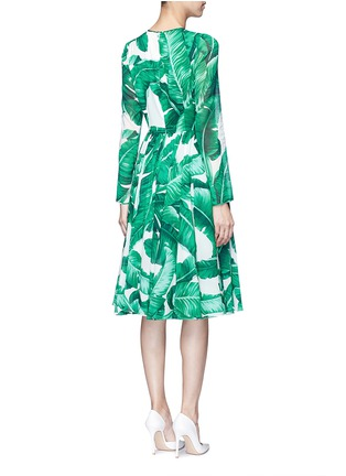 Back View - Click To Enlarge - Dolce & Gabbana - Banana leaf print silk blend chiffon dress