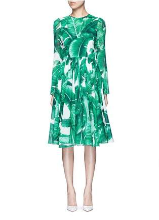 Main View - Click To Enlarge - Dolce & Gabbana - Banana leaf print silk blend chiffon dress