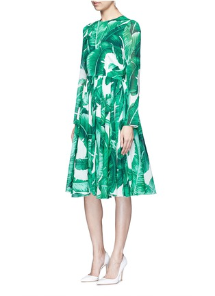 Figure View - Click To Enlarge - Dolce & Gabbana - Banana leaf print silk blend chiffon dress