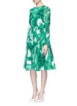Banana leaf print silk blend chiffon dress