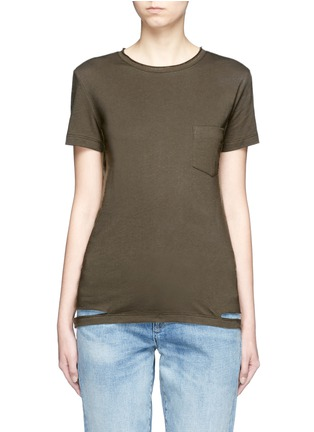 Main View - Click To Enlarge - Helmut Lang - Cutoff hem pocket jersey T-shirt