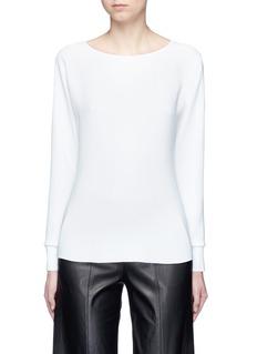 VinceRib cuff lasercut crepe blouse