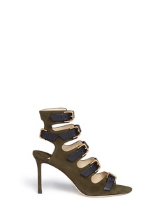 Jimmy Choo'Trick 85' contrast leather strap caged suede sandals