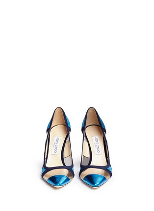 Front View - Click To Enlarge - Jimmy Choo - 'Romy' mirror leather suede panel pumps