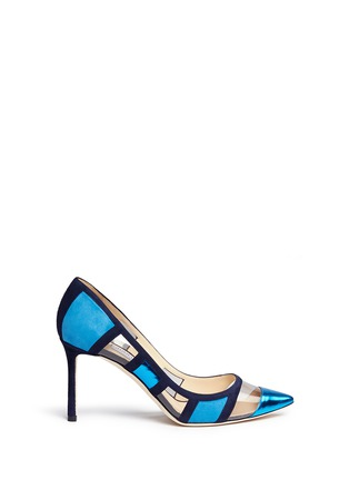 Main View - Click To Enlarge - Jimmy Choo - 'Romy' mirror leather suede panel pumps