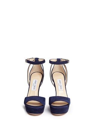 Front View - Click To Enlarge - Jimmy Choo - 'Kayden' ankle strap suede platform sandals