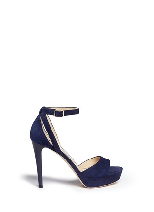 Main View - Click To Enlarge - Jimmy Choo - 'Kayden' ankle strap suede platform sandals