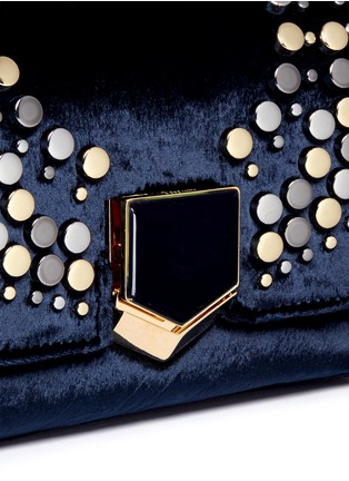 - Jimmy Choo - 'Lockett Petite' graphic stud velvet shoulder bag