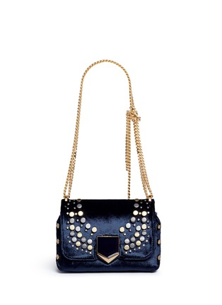 Main View - Click To Enlarge - Jimmy Choo - 'Lockett Petite' graphic stud velvet shoulder bag