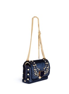 Jimmy Choo 'Lockett Petite' graphic stud velvet shoulder bag