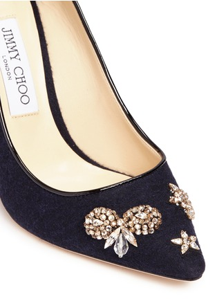 Detail View - Click To Enlarge - Jimmy Choo - 'Romy 100' glass crystal embellished flannel pumps