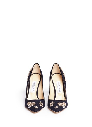 Front View - Click To Enlarge - Jimmy Choo - 'Romy 100' glass crystal embellished flannel pumps
