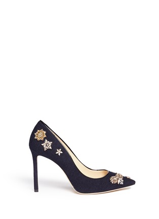 Main View - Click To Enlarge - Jimmy Choo - 'Romy 100' glass crystal embellished flannel pumps