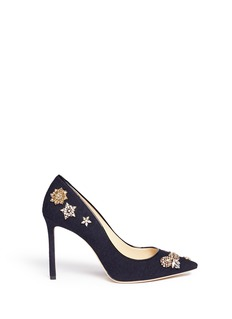 Jimmy Choo 'Romy 100' glass crystal embellished flannel pumps
