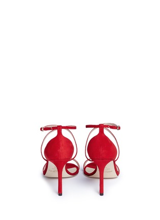 Back View - Click To Enlarge - Jimmy Choo - 'Hesper 85' crisscross strap suede sandals