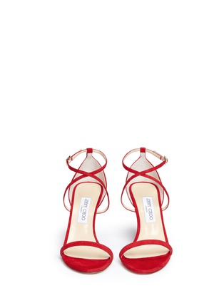 Front View - Click To Enlarge - Jimmy Choo - 'Hesper 85' crisscross strap suede sandals