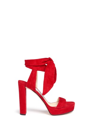 Main View - Click To Enlarge - Jimmy Choo - 'Kaytrin 120' ankle tie pleat suede platform sandals