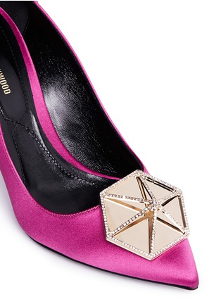 Detail View - Click To Enlarge - Nicholas Kirkwood - 'Eden' pavé hexagon plate satin pumps
