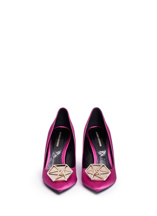 Figure View - Click To Enlarge - Nicholas Kirkwood - 'Eden' pavé hexagon plate satin pumps