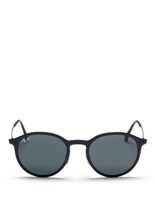 Main View - Click To Enlarge - Ray-Ban - 'RB4224 Light Ray' titanium temple round sunglasses