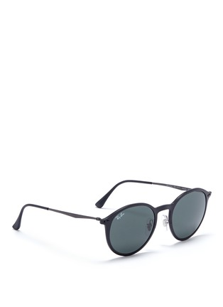 Figure View - Click To Enlarge - Ray-Ban - 'RB4224 Light Ray' titanium temple round sunglasses