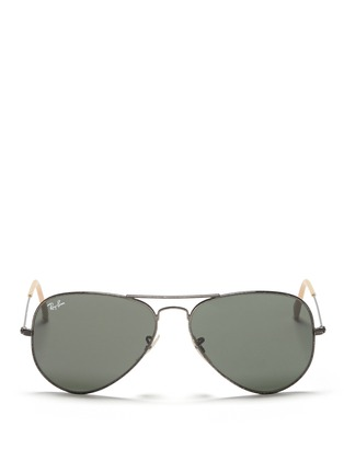 Main View - Click To Enlarge - Ray-Ban - 'Aviator Distressed' contrast acetate metal sunglasses