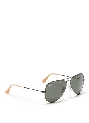 Figure View - Click To Enlarge - Ray-Ban - 'Aviator Distressed' contrast acetate metal sunglasses