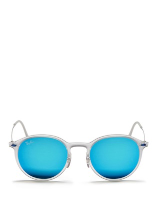 Main View - Click To Enlarge - Ray-Ban - 'RB4224 Light Ray' titanium temple mirror sunglasses